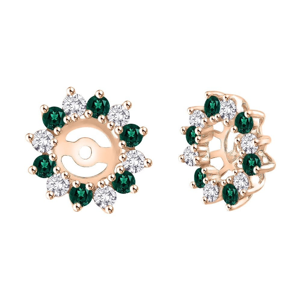 Alternating Diamond with Emerald Earring Jackets in 14K Rose Gold (5/8 cttw) (Color JK, Clarity I2-I3)