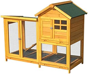 Rabbit Hutch Outdoor Rainproof Rabbit Cage Luxurious Double Layer Bird Cage Automatic Fecal Removal Double Door Design Sun Protection and Corrosion (Color : Wood Color, Size : 124 * 63 * 100cm)