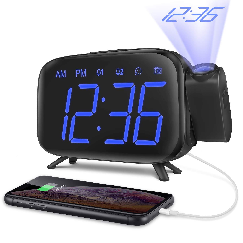 ELEHOT Despertadores Digitales Proyectores Radio Despertador Reloj de Proyección Pantalla LCD Azul y Volumen Ajustable 7 Tonos Función de Radio ...