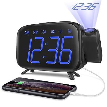 ELEHOT Despertador Digital Proyector Radio Despertador Reloj de Proyección Pantalla LCD Azul y Volumen Ajustable 7 Tonos Función de Radio Alimentación ...