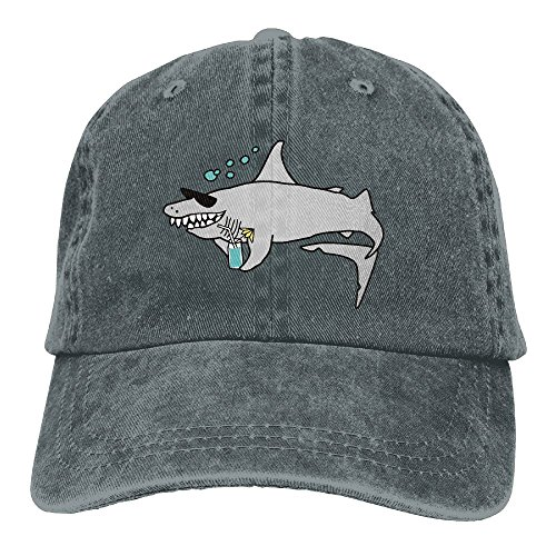MingDe YY Happy Shark Wearing Sunglasses And Holding Vintage Trucker Hat Washed Denim Adult Cowboy Hat Baseball - Me To Sunglasses Buy Where Near