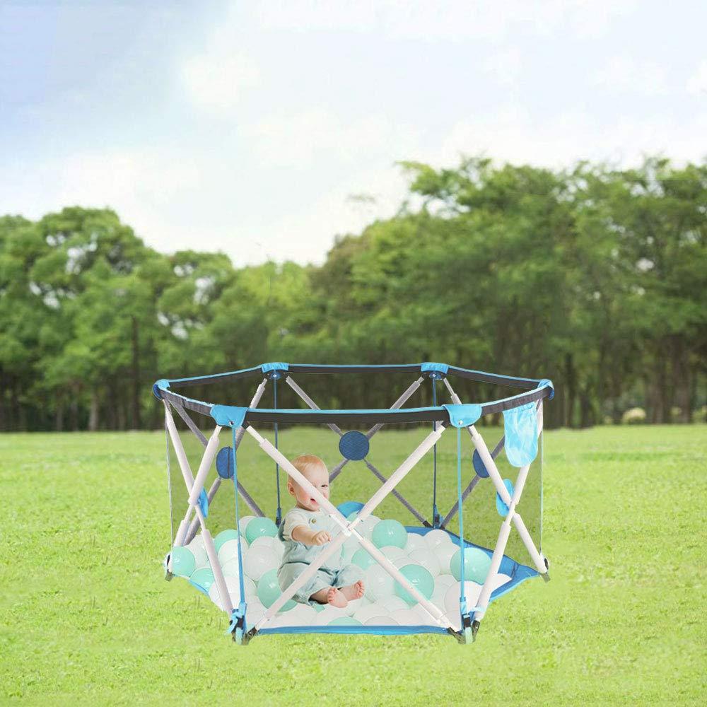 Laufstall Sechseckig mit Netz Innen- und Au/ßenspiel f/ür Kinder von 0 bis 4 Jahren Blau,ohne Ball Arkmiido Laufstall Kinder Laufgitter Faltbar und Tragbar