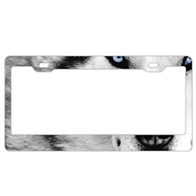 EXMENI Handsome Wolf License Plate Frame Theft-Proof Frames Stainless Steel Board Frames: Sports & Outdoors