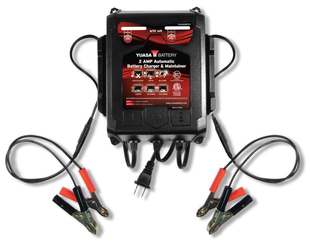 Amazon.com: Yuasa YUA2AMPCH cargador de batería de 6/12 V, 2 ...