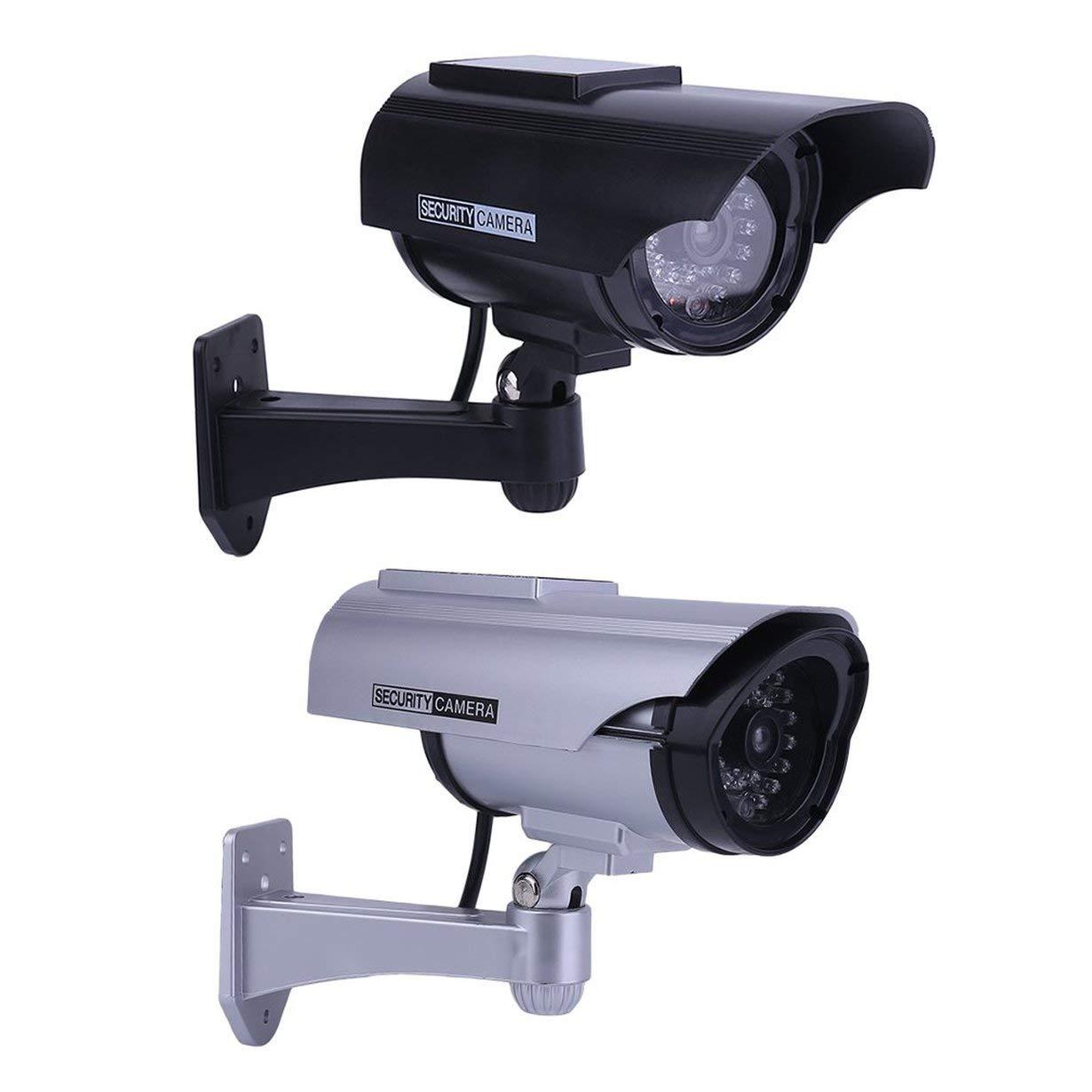 C/ámara de seguridad CCTV falsa c/ámara de vigilancia CCTV de casa con luz solar LED de pr/áctica de simulaci/ón de imitaci/ón falsa de simulaci/ón de energ/ía solar para uso en interiores al aire libre