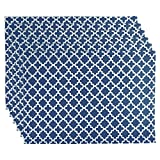 DII Lattice Cotton Placemat For Dinner Parties, Summer & Outdoor Picnics - 13 x 19, Nautical Blue and White, Set of 6