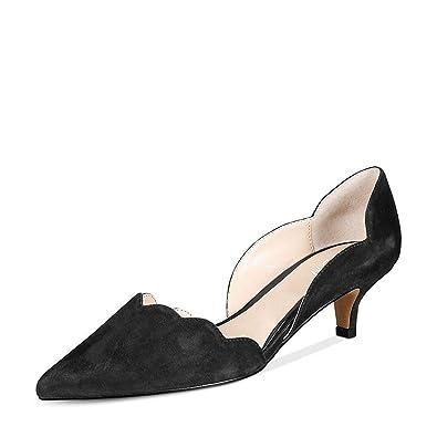 YDN Women Classic Pointy Toe Kitten Pumps Slip on Suede Low Heel D'Orsay Shoes Formal