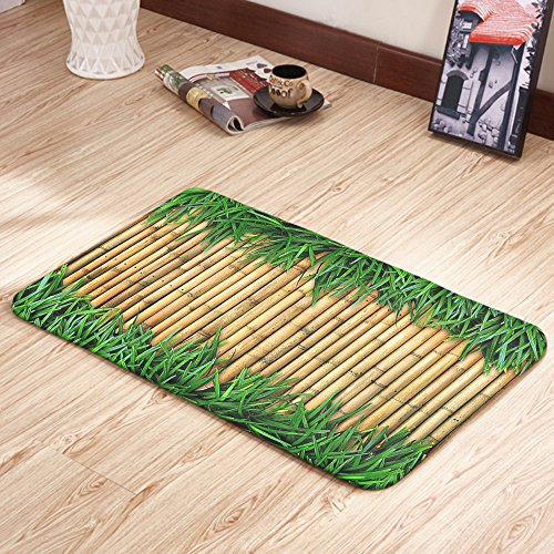 Moslion Doormats Green Brown Bamboo Grass Summer Sand Brown Fern Green Rectangular Doormat Decorative Indoor/Outdoor Cover Rug 15.7 X 23.6 Inch (Rug Ferns Brown)