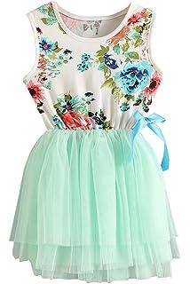 996ac02869 RJXDLT Girls Sleeveless Floral Princess Dress Lace Tulle Tutu Dresses  Sundress for Toddler Girls