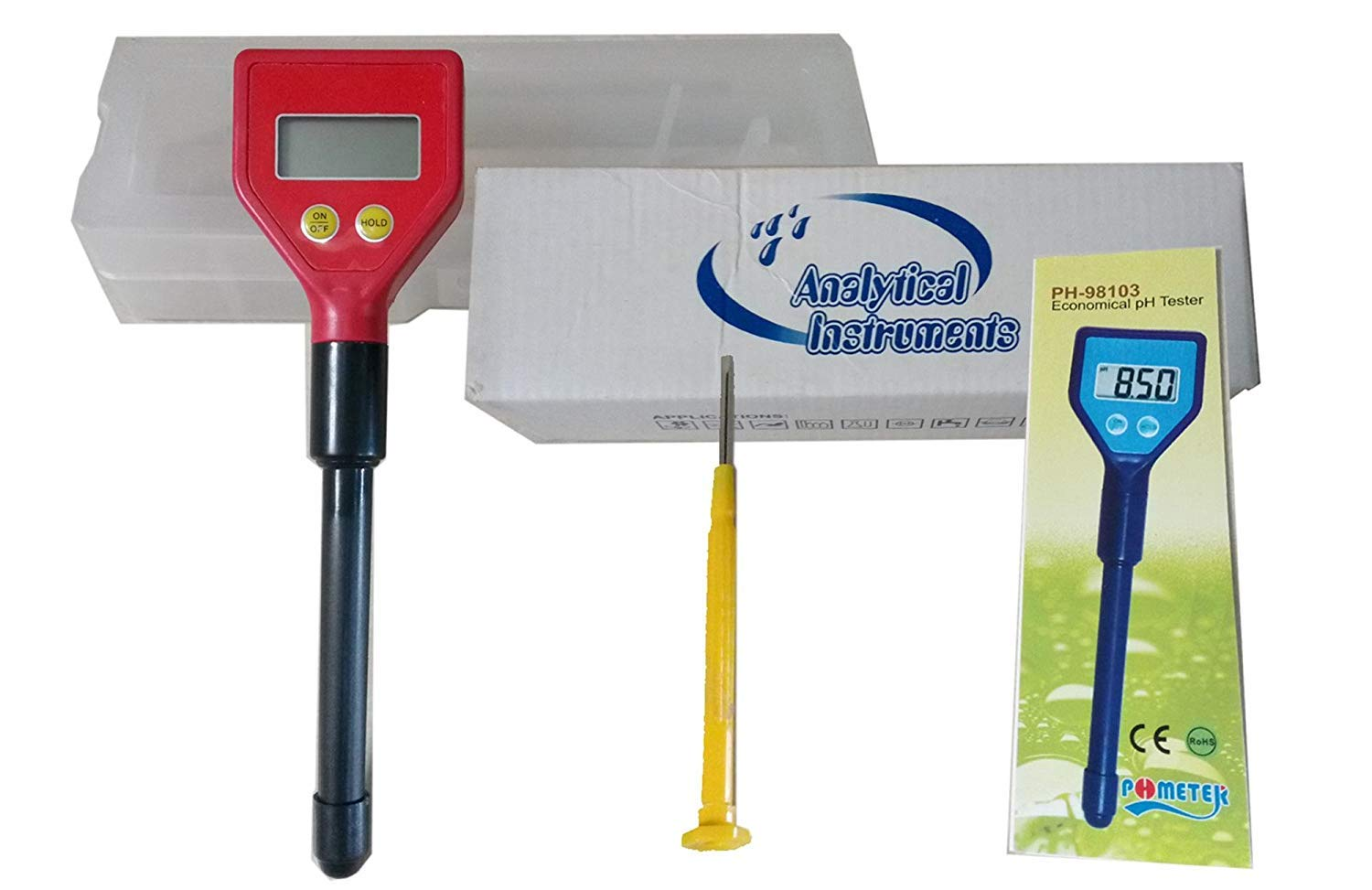 VTSYIQI PH-98103 Portable Pen Type Milk Water PH Meter PH Electrode with pH Electrode Acidimeter Industry and Experiment Analyzer Rechargeable pH-Meter Color Red