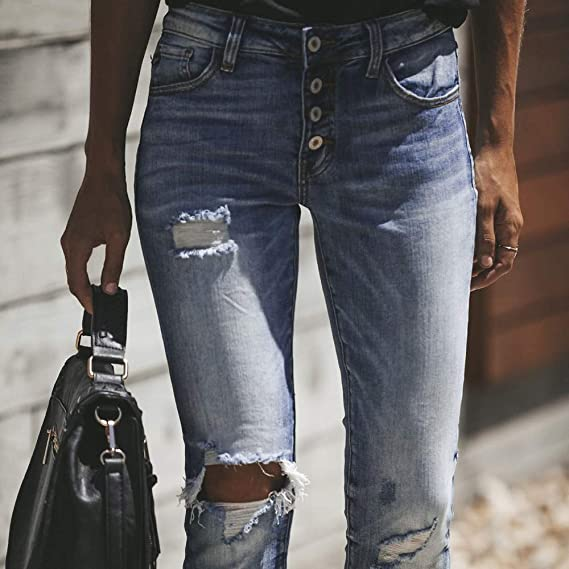GzxtLTX Fashion Women Skinny Stretch High Waist Ripped Holes Embroidered Jeans