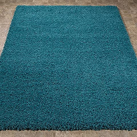 Sweet Home Stores Cozy Shag Collection Turquoise Solid Shag Rug Contemporary Living & Bedroom Soft Shaggy Area Rug, (Soft Area Rug Sets)