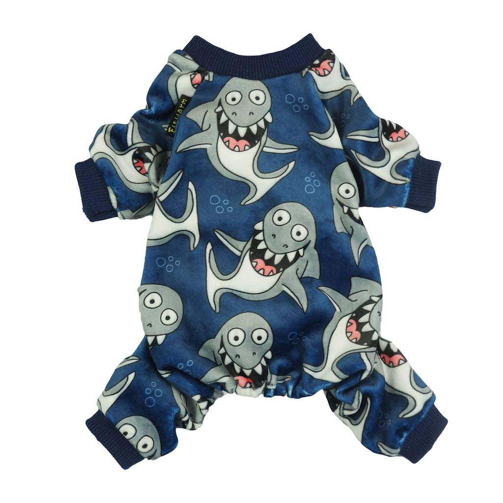 Fitwarm Shark Pet Clothes for Dog Pajamas Cat Jumpsuit PJS Apparel Lightweight Velvet Blue