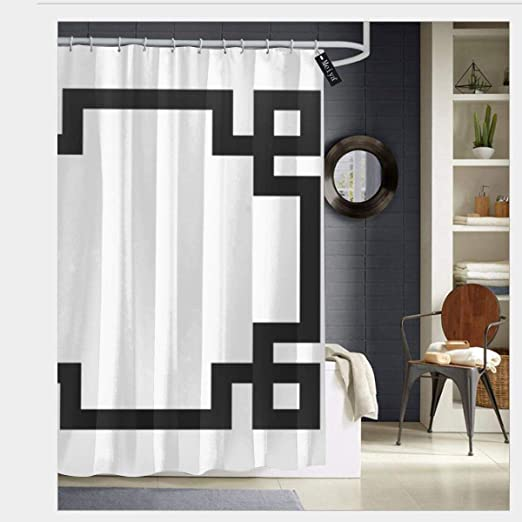 Amazon Com Szzwy Black And White Greek Key Border Shower Curtain 3d Printing Waterproof Coated Polyester Fabric Bathroom With 12 Hooks 71 Inches Home Kitchen