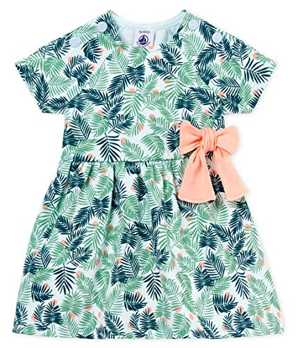 (Petit Bateau Baby Girl's Short Sleeve Leaf Print Dress with Bow (24 Months))
