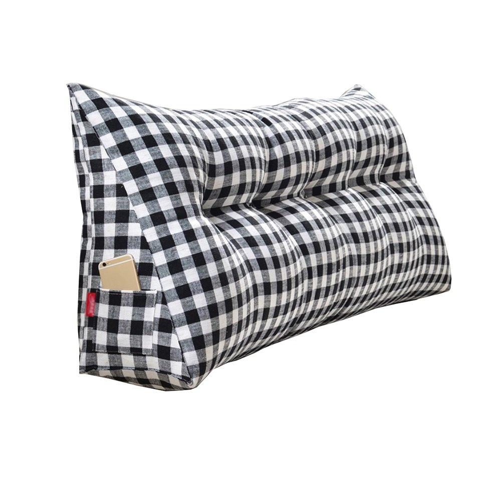 ベッドサイドの厚いクッション三角枕と長い背もたれの取り外し可能と洗濯可能なウエストピロー/レディング枕 (色 : Black, サイズ さいず : 90 * 50 * 20cm) B07DK6PJ3V 90*50*20cm|Black Black 90*50*20cm