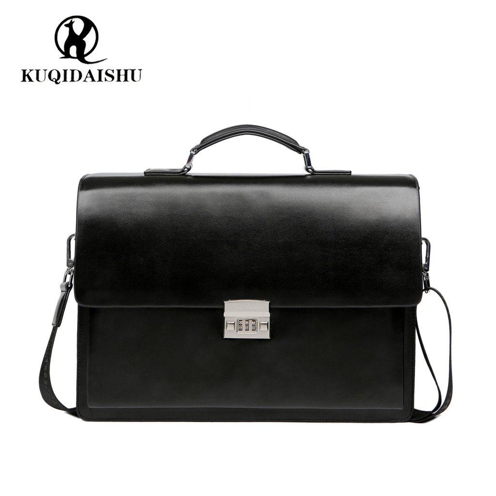 KQDAISHU ブリーフケース ビジネスバッグ ラップトップバッグ ハンドバッグ ダレスバッグ アタッシュケース A4 セキュリティロック 通勤 大容量 メンズ B074QNJKN6 ブラック ブラック