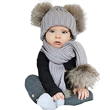 Amazon.com  Misaky Winter Baby Kids Girls Boys Warm and Soft Hood Scarf Hats  Set Costume Cap (Gray)  Baby c54b42944d4