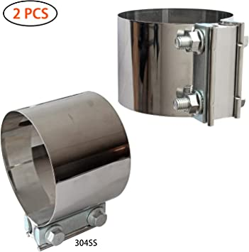 SPEEDWOW 3.0 Butt Joint Exhaust Band Clamp Sleeve Stainless Steel