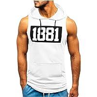 Sylar Camiseta sin Mangas para Hombre Verano Camisetas de Tirantes con Capucha impresión de Letras Camiseta Gym Hombre…