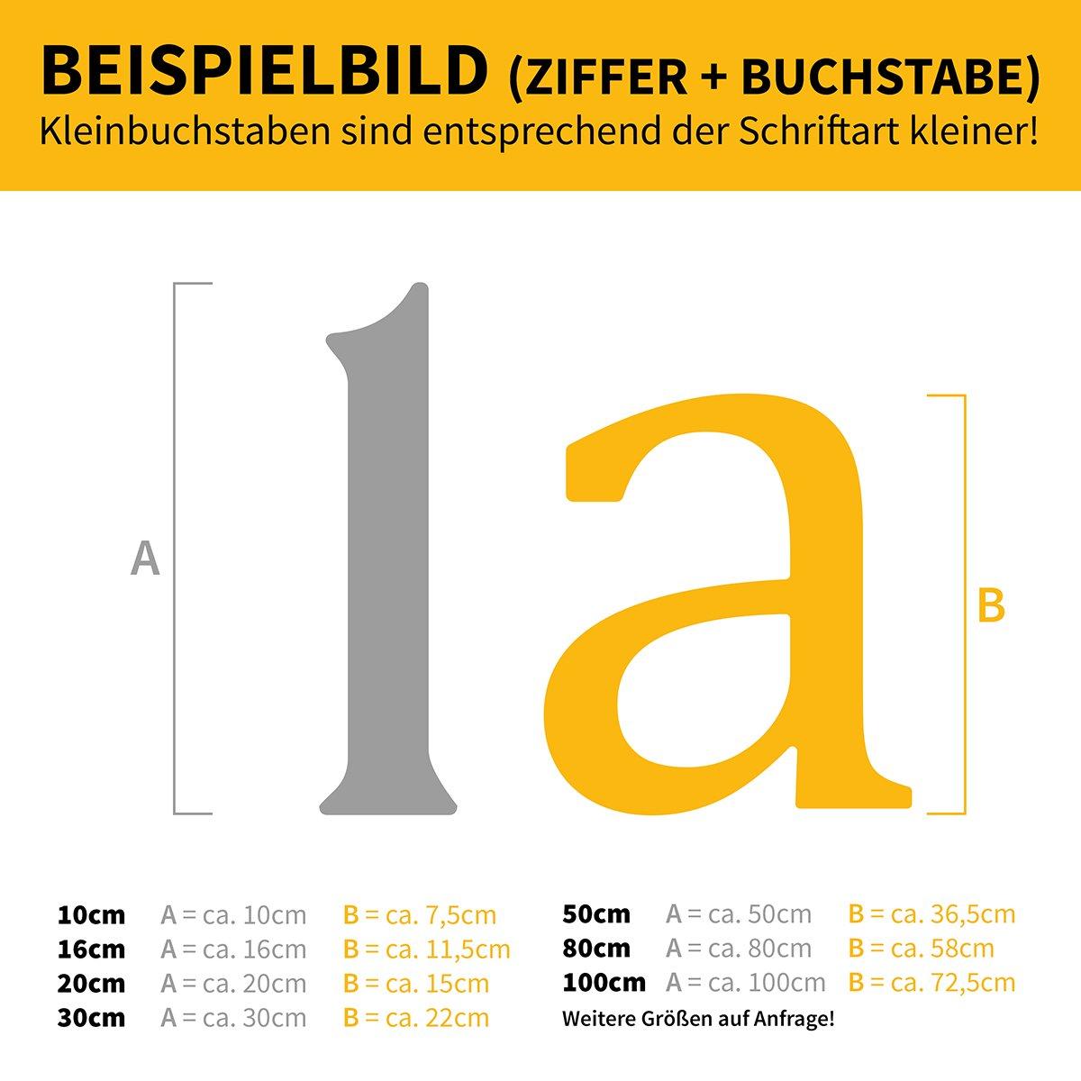 2 Thorwa/® verschn/örkelte Design Edelstahl Hausnummer Cabaletta Stil RAL 7016 anthrazit pulverbeschichtet H: 160mm