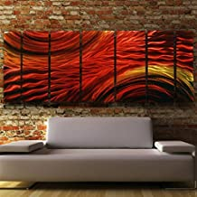 Abstract Red, Yellow, Orange Earth-toned Metallic Wall Painting - Modern Contemporary Home Office Wall Decor Sculpture Art Accent - Harvest Moods II by Jon Allen