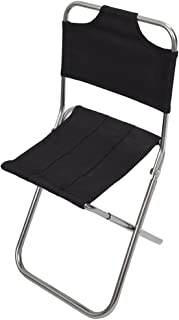 SODIAL(R)Portable Folding Aluminum Oxford Cloth Chair Outdoor Fishing Camping with Backrest Carry Bag Black