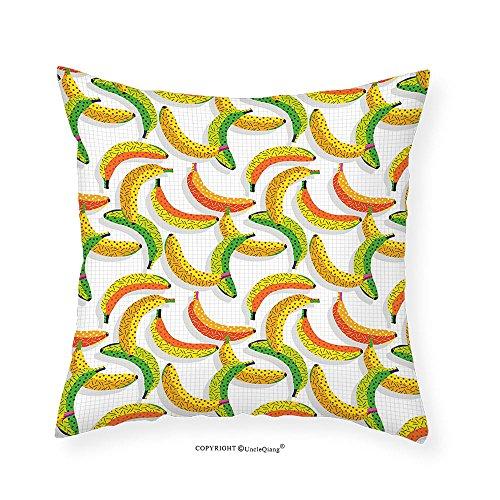 VROSELV Custom Cotton Linen Pillowcase Vintage Retro 80s Fruit Fashion Banana Pattern Funky Hipster Illustration for Bedroom Living Room Dorm Yellow Orange and Lime Green 22