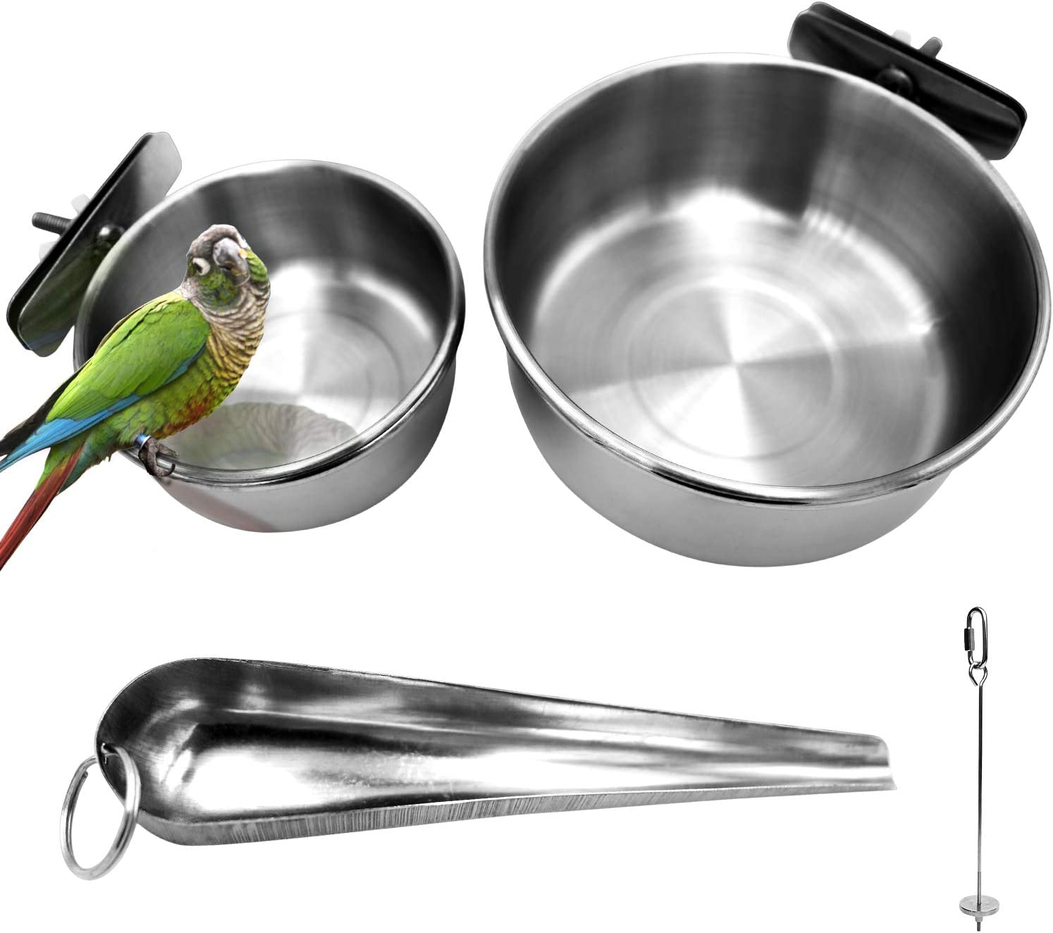 2 Pack Birds Food Dish Parrot Stainless Steel Feeding Cups Bird Feeders Water Cage Bowls with Clamp Holder and 1 Pcs Bird Stand Toy for Parakeet Conure Cockatiels Lovebird Budgie Chinchilla