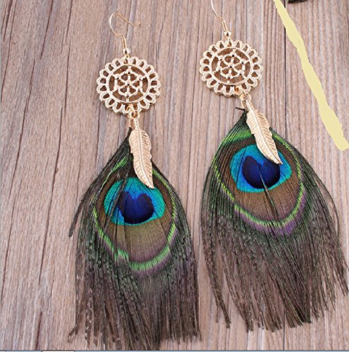 Leiothrix Unique Golden Carved Ear Stud with Peacock Feather for Women and Girls Apply to Party and (Peacock Makeup)