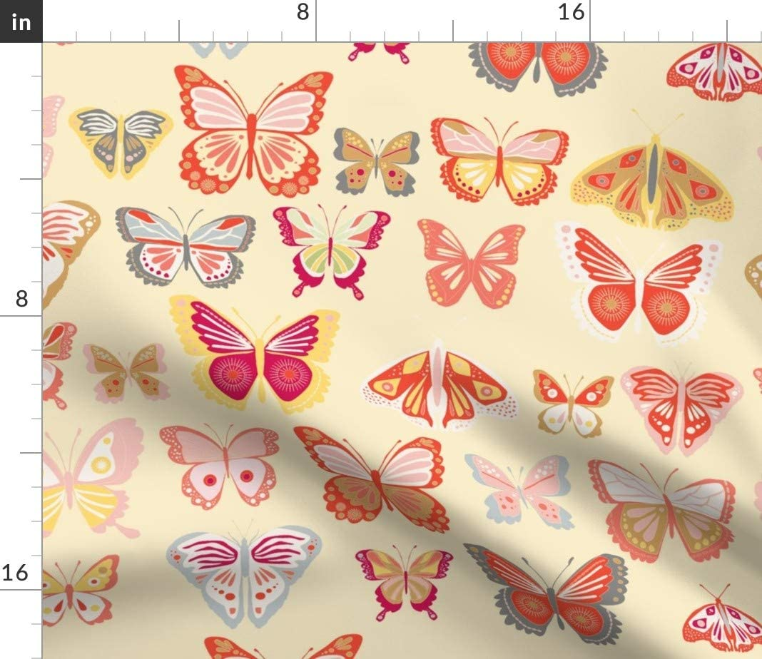100/% Cotton Sateen Duvet Cover Twin Roostery Duvet Cover Orange Butterflies Summer Butterfly Nursery Insect Natural Baby Girl Decor Print