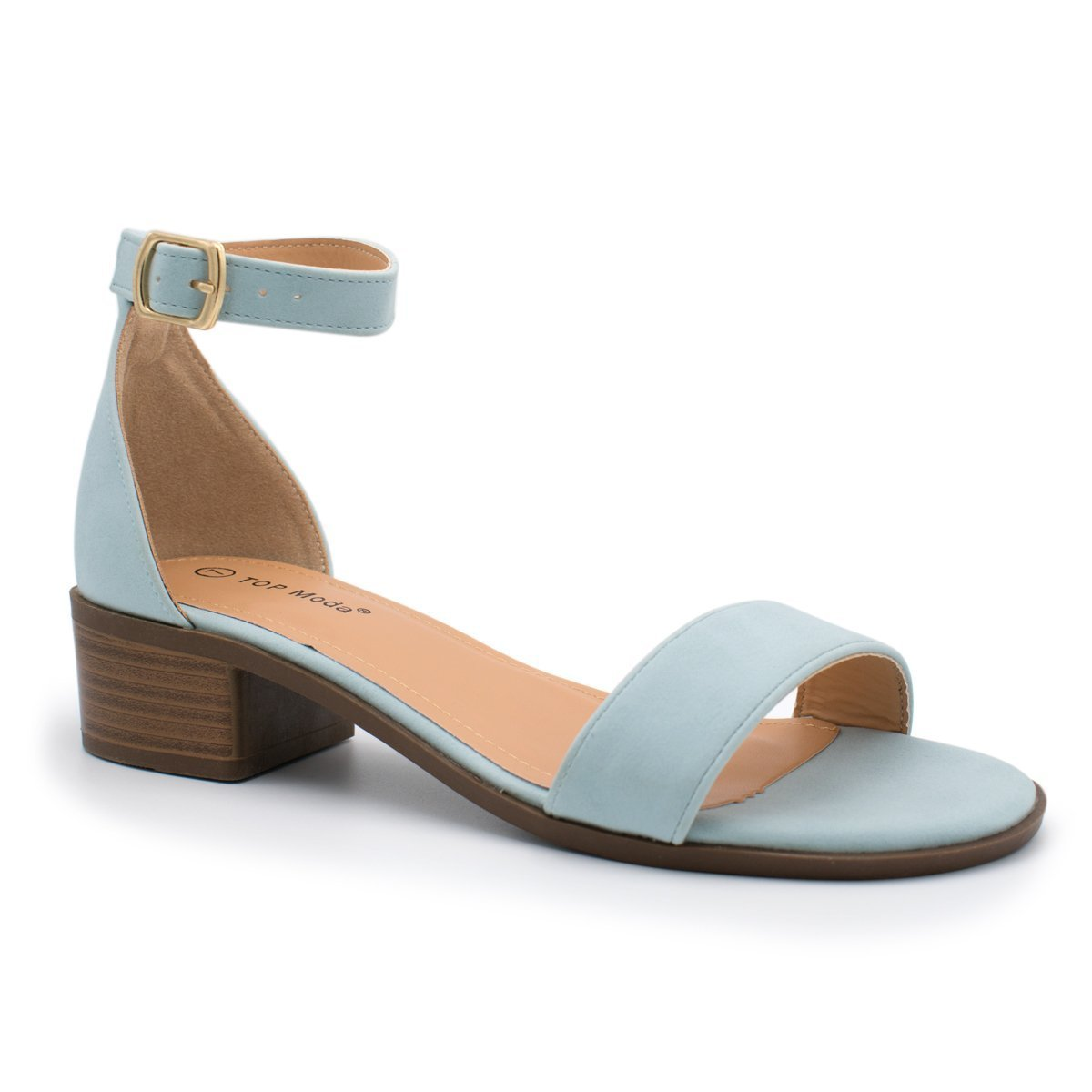 93363783c6 Amazon.com | TOP Moda Women's Vision-6 Ankle Strap Open Toe Heeled Sandal  Light Blue 7.5 | Heeled Sandals