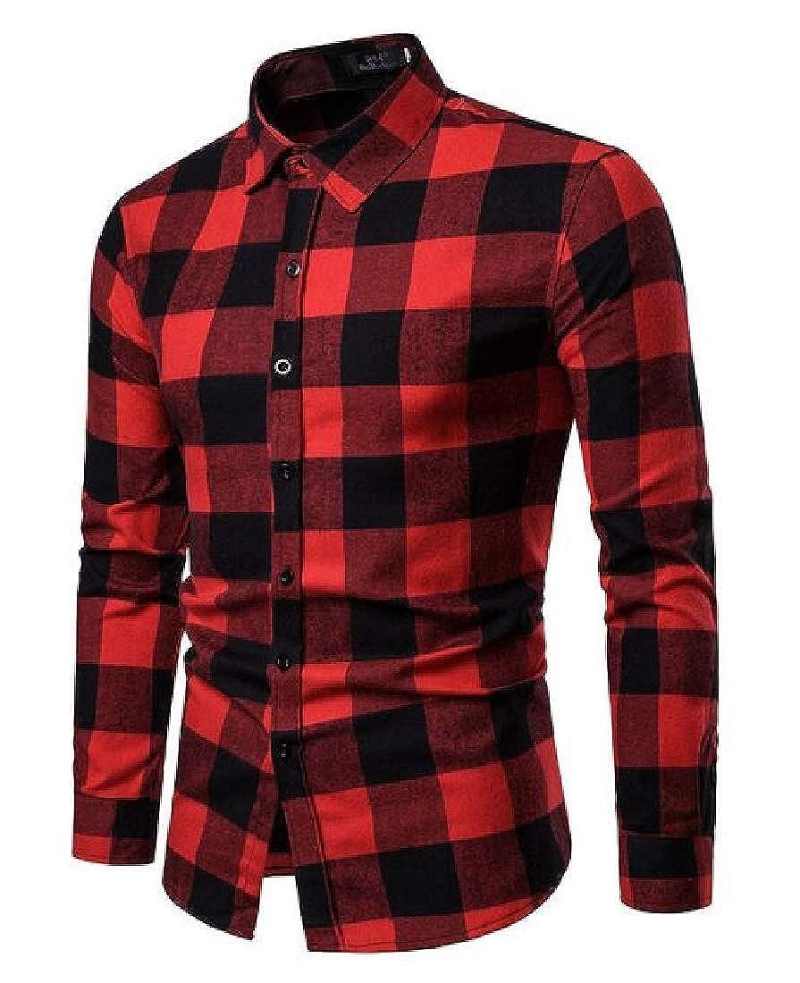 YYear Mens Long Sleeve Slim Lapel Casual Plaid Print Button Up Dress Shirt