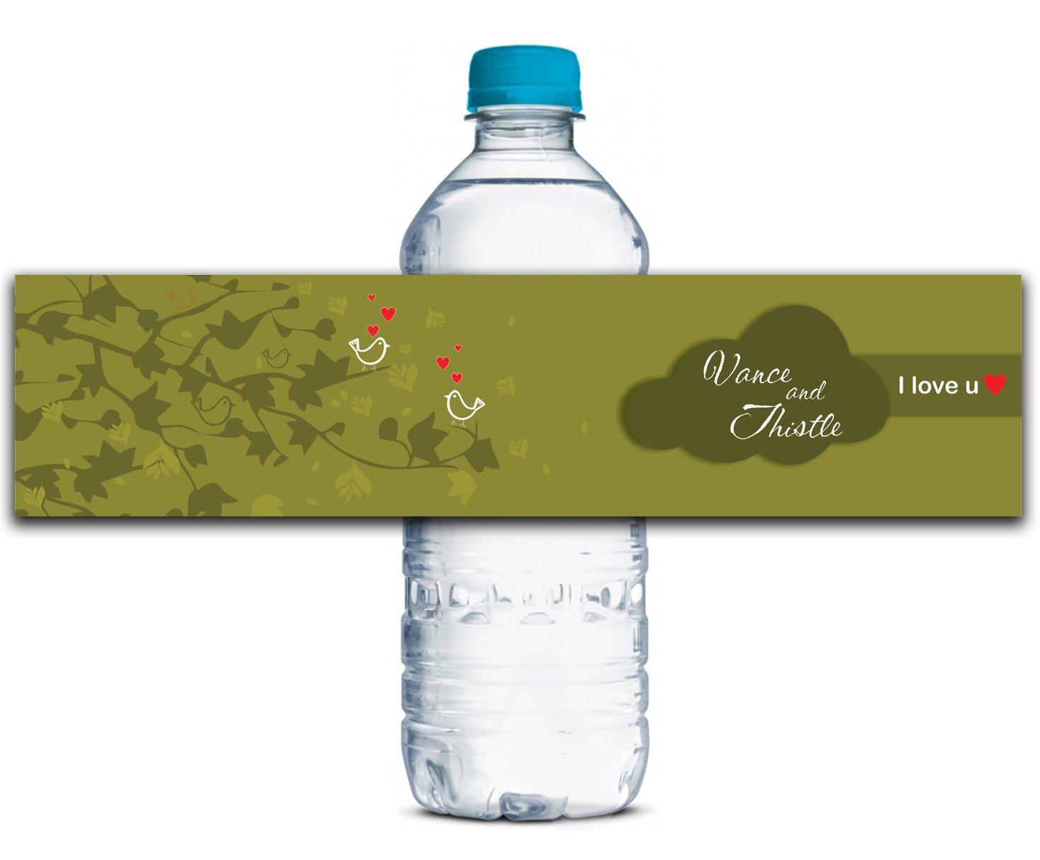 Personalisierte Wasserflasche Etiketten Selbstklebende wasserdichte Kundenspezifische Hochzeits-Aufkleber 8  x 2  Zoll - 50 Etiketten B01A0W4J3G | Ästhetisches Aussehen