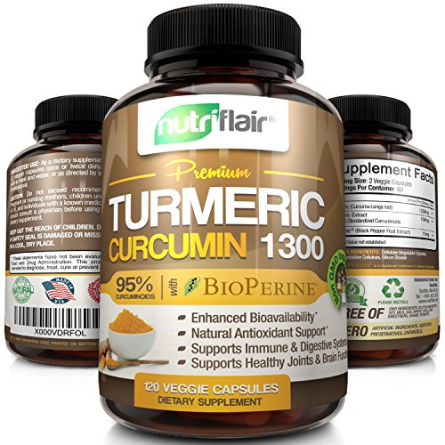 NutriFlair Premium Turmeric Curcumin Supplement (1300mg) with BioPerine Black Pepper (120 Capsules, 60 Day Supply) - Powerful Joint Pain Relief, Anti-Inflammatory Antioxidant - GMO and Allergen ()