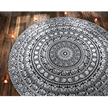 Circle Beach Towel Black and White Elephant Mandala Round Roundie Beach Throw Indian Home Decorative Tapestry Hippie Boho Table Cloth Cotton Curtains Picnic Sheet By Rajrang