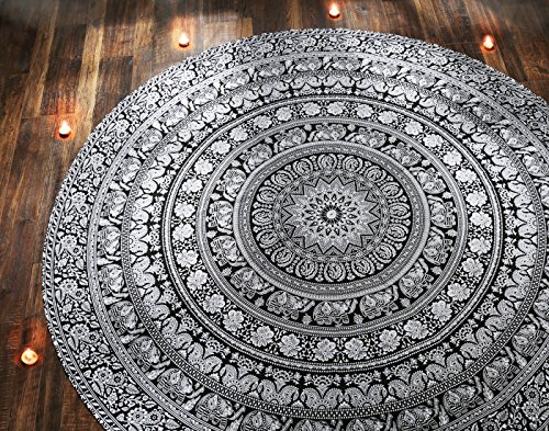 RAJRANG BRINGING RAJASTHAN TO YOU Tapestry Wall Hanging - Cute Hippie Mandala Tapiz Queen Size Cotton Bedding Bohemian Boho Bedspread Wandteppich (Round, Black and White)