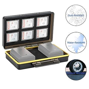 JJC Estuche Tarjeta SD para 6 tarjetas SD con 2 ranuras para baterías Canon LP-E6 LP-E8 LP-E12 LP-E17 NB-13L Sony NP-FZ100 NP-FW50 NP-BX1 Fujifilm ...