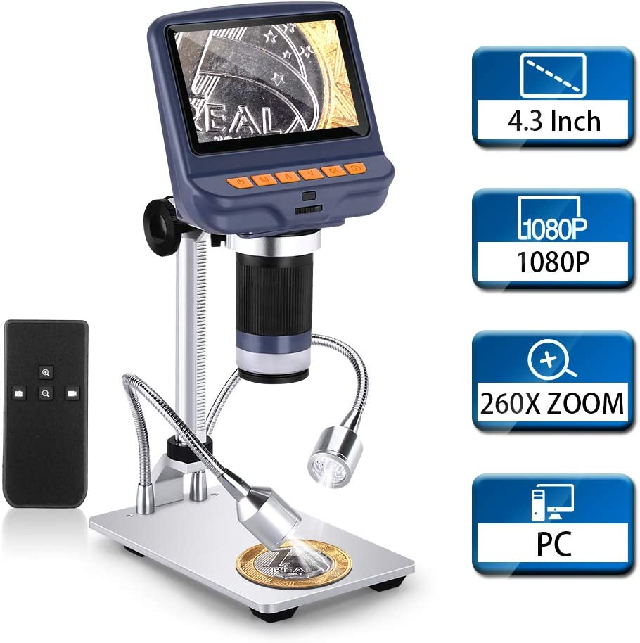 Wireless Remote Elikliv 4.3 inch 1080P USB Microscope Camera 2MP Video Recorder with 10X-260X Magnification LCD Digital Microscope UV Filter,8 LED Adjustable Light