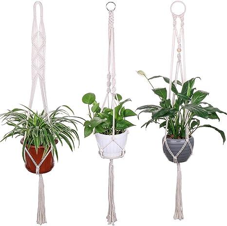 Macrame Plant Hangers Indoor Wall Hanging Planter Basket Flower Pot Holder Boho Home Decor Set of 3