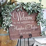 BATTOO Welcome Wedding Decal Personalized Rustic Wedding Decor Custom Names and Date Rustic Wedding Decal Country Wedding DIY Wedding Sign 30″ wx22 h PLUS free hello door decal Review