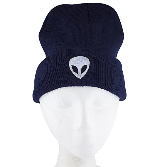 f0dc1c5cb5a Lux Accessories Navy Blue White Black Alien Beanie Hat at Amazon Women s  Clothing store