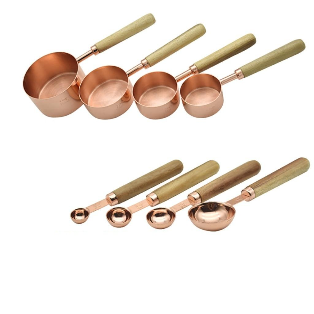 Feccile 8Pcs/Set Kitchen Rose Gold Wooden Handle Measuring Spoons&Cups Round Head Baking Gadget