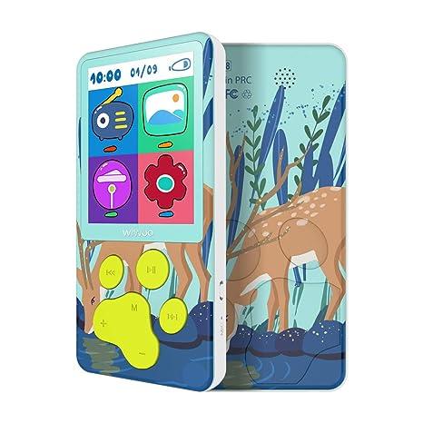 MP3 Player Kinder Blau 8 GB Farb-Display MP3 Player mit Lautsprecher, FM Radio, Tastensperre E-Book Spiele