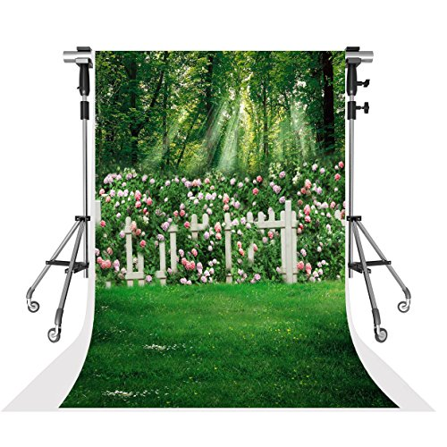 Kate 6.5x10ft Spring Photography Backdrops Family Garden Pink Flowers Photo Background Collapsible Microfiber Material