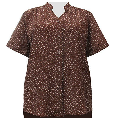 A Personal Touch Women's Plus Size Leah Brown Mandarin Collar V-Neck Tunic - 1X