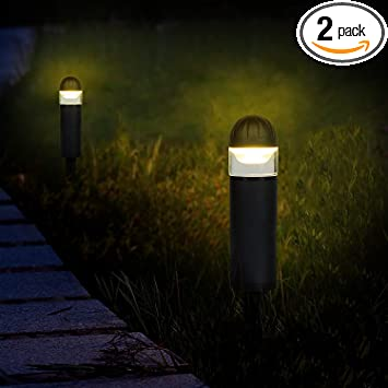 Moon Bay 2731led Na X 2 Bollard Landscape Path Light Low Volt 2w White Led Waterproof For Outdoor Body With Solid Glass And Aluminum Spike 2pack Matt Black