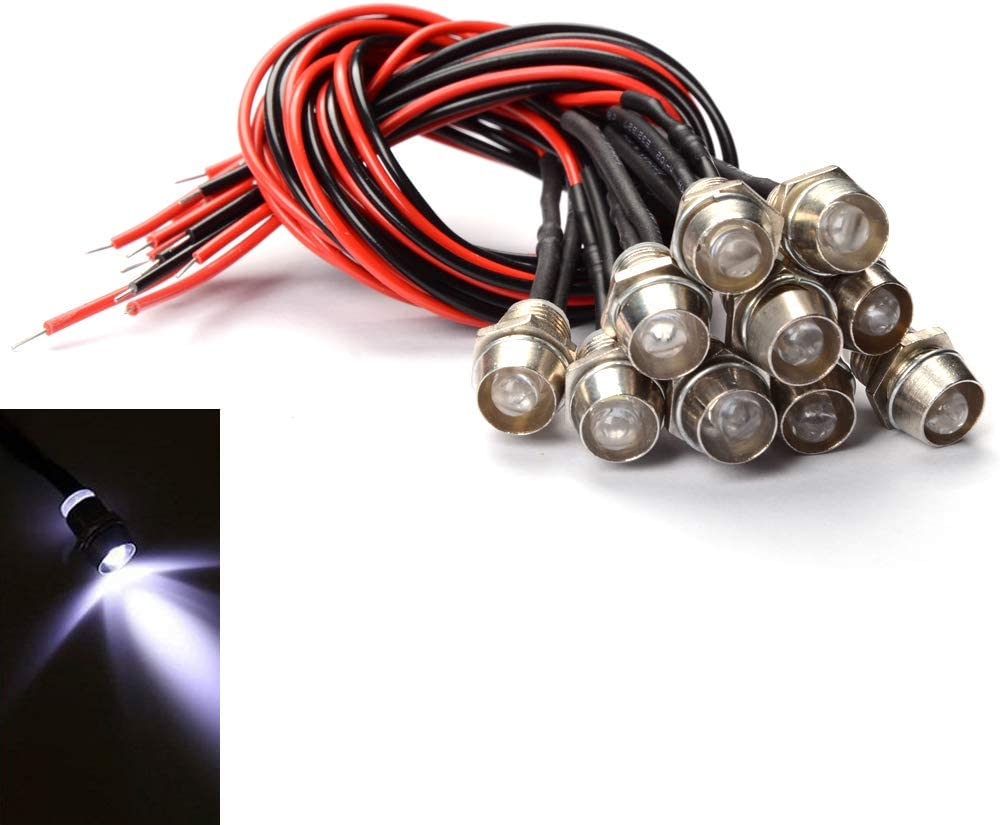 Green Amotor 10Pcs 8mm 5//16 LED Metal Indicator Light 12V Waterproof Signal Pilot Lamp Dash Directional Car Truck Boat with Wire