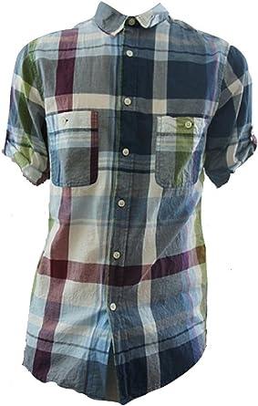 Topman Camisa de manga corta a cuadros verde y azul: Amazon ...