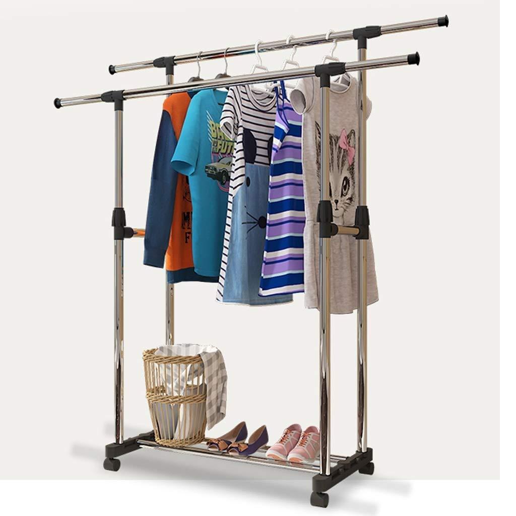 TYUIO 衣服の棚、二重柵の棒調節可能な掛かる衣類の棚の圧延の衣服の衣服の棚 B07QQ9LT7B